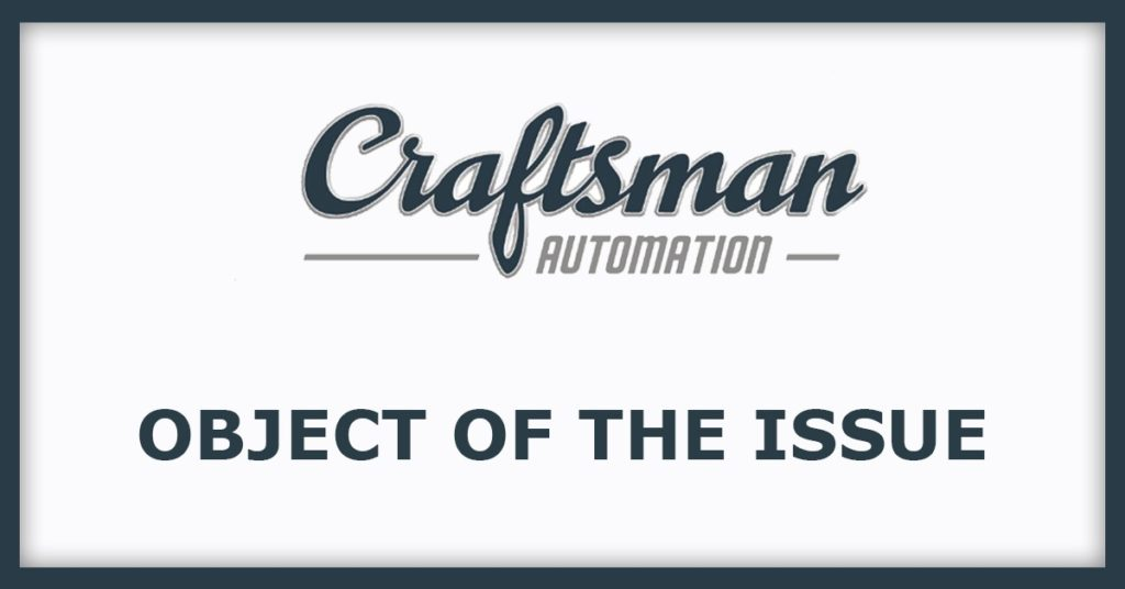 Craftman Automation Issue Of The Object.